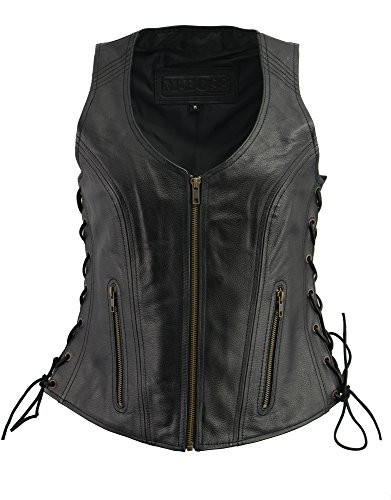 M-BOSS APPAREL-Ladies Leather Side Lace Zipper Front