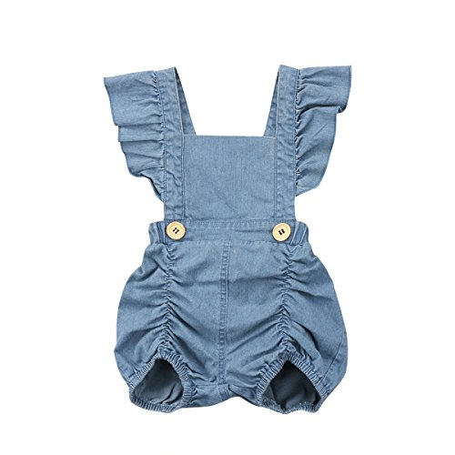 Calsunbaby Infant Baby Girls One Piece Short Sleeve Ripped Demin Jeans
