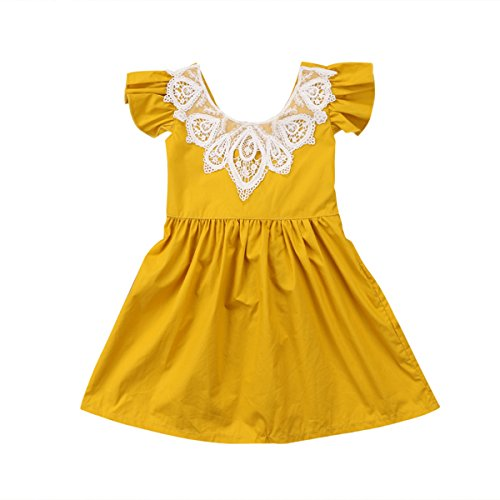 Infant Toddler Flower Girl Romper Lace Collar Cotton Ruffle Sleeve Baby Girls