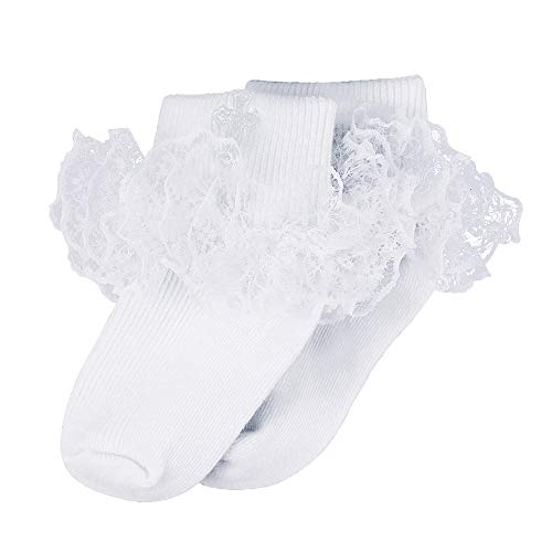 Infant Baby Girls Baptism Christening White Ruffle Cotton Frilly Embroidered