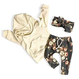 Baby Girls Clothes Long Sleeve Hoodie Sweatshirt Floral Pants