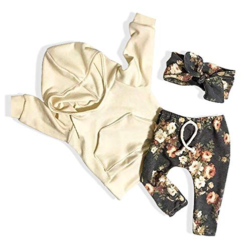 Baby Girls Clothes Long Sleeve Hoodie Sweatshirt Floral Pants