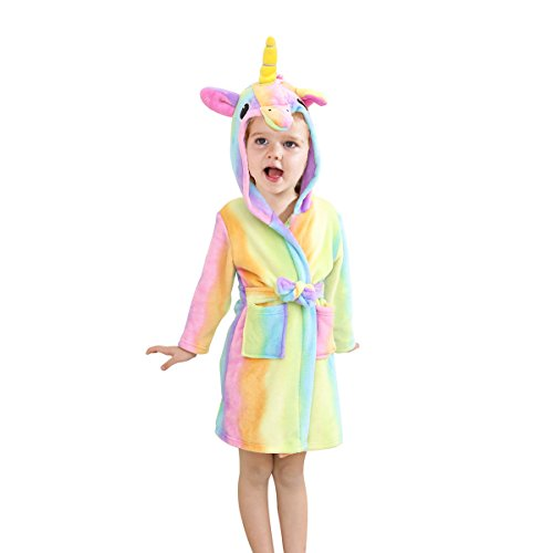 Toddlers/Kids Unicorn Hooded Robe Soft Fleece Bathrobe