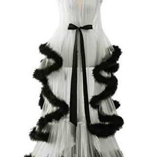 Changuan Sexy Illusion Long Lingerie Robe Nightgown Bathrobe