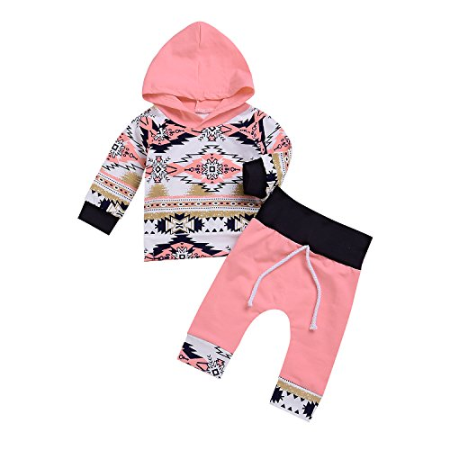 2Pcs Baby Girls Fall Winter Long Sleeve Floral Geometric Print Hoodie