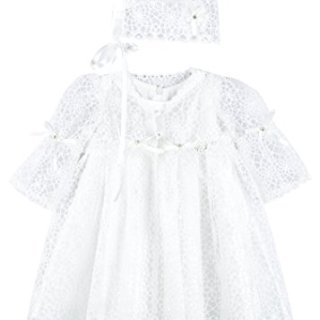 Lilax Baby Girl's Christening Baptism Lace Overlay Dress Gown
