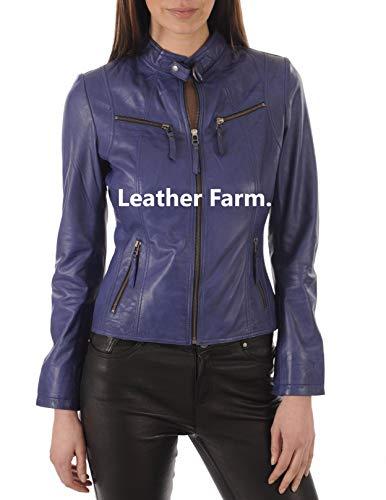 LEATHER FARM Women's Lambskin Leather Bomber Biker Jacket