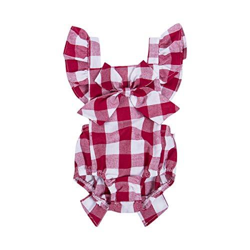 Newborn Infant Baby Girls Clothes Plaids Checks Romper Jumpsuit Bodysuit