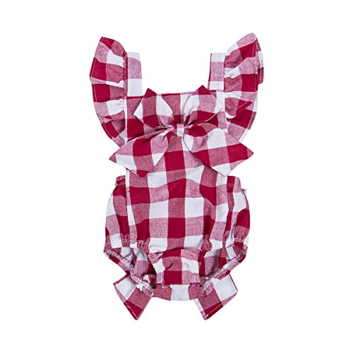 Newborn Infant Baby Girls Clothes Plaids Checks Romper Jumpsuit Bodysuit