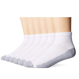 Mens ComfortBlend Ankle Socks, White, Pack of 30
