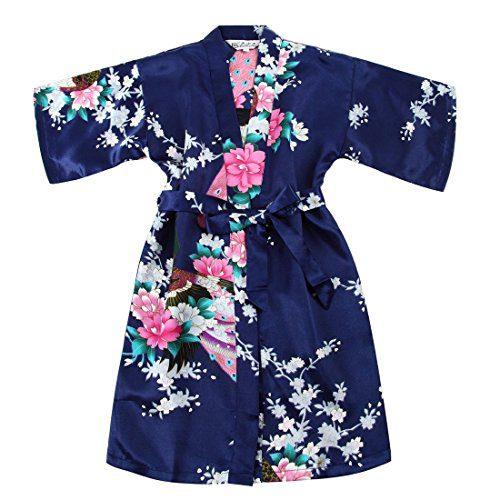 Toddler Girls' Satin Kimono Robe Peacock Blossoms Bathrobes