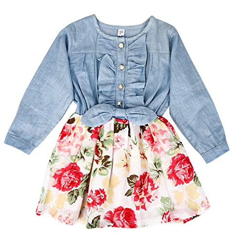 MingAo Girls Princess Dress Denim Tops Floral Skirts