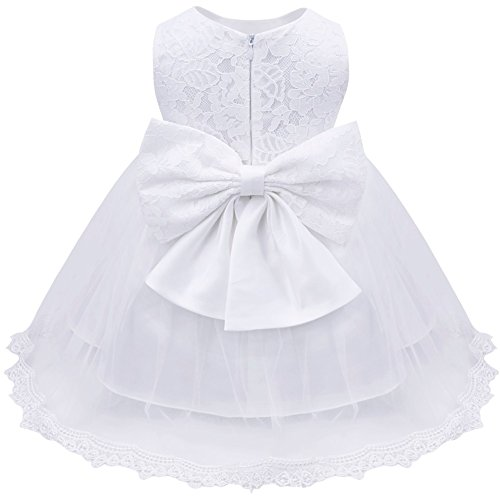 iEFiEL Baby Girls Lace Baptism Flower Dress Wedding Pegeant Tutu