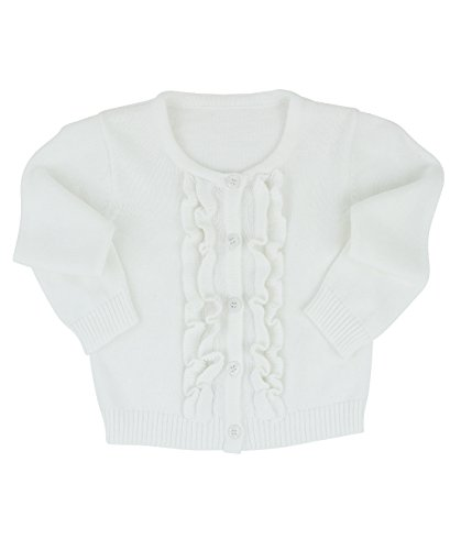 RuffleButts Baby/Toddler Girls White Ruffled Cardigan - 18-24m