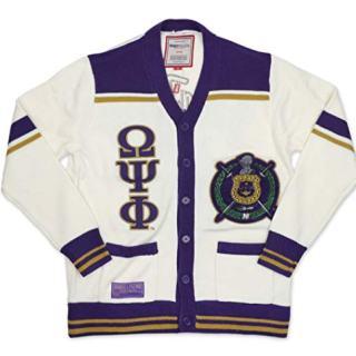 Omega Psi Phi New Wool Cardigan Sweater Medium White