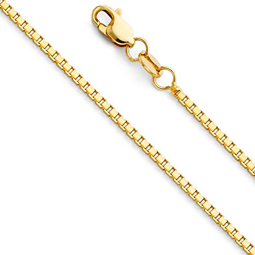 14k Yellow Gold SOLID 1.1mm Box Link Chain Necklace