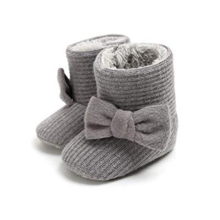 Infant Baby Girls Boys Snow Booties Bow Knitting Warm Fleece