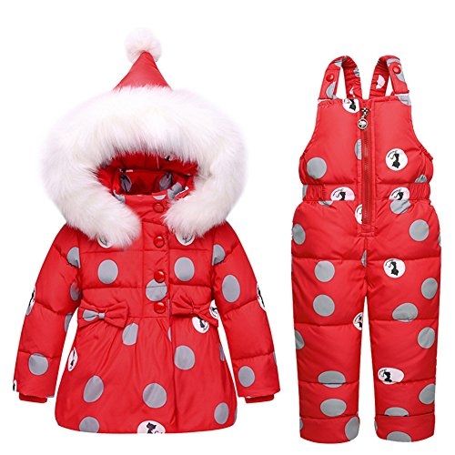 Baby Girls Snowsuit Toddler Puffer Hooded Jacket + Bib Pants