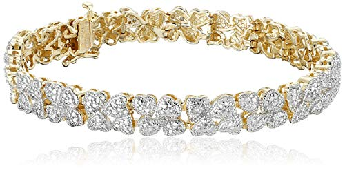 18k Yellow Gold Plated Sterling Silver Genuine Diamond Hearts Bracelet