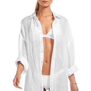 Vitamin A Women's Playa Button-Up Shirt Dress Swim Cover Up