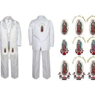 Unotux Baby Boy Communion Formal White Paisley Suit