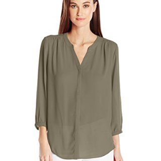 NYDJ Women's 3/4 Sleeve Pintuck Blouse