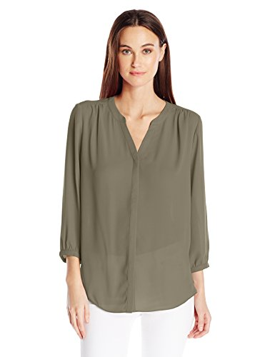 NYDJ Women's 3/4 Sleeve Pintuck Blouse