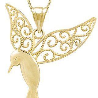 Honolulu Jewelry Company 14k Yellow Gold Humming Bird Necklace