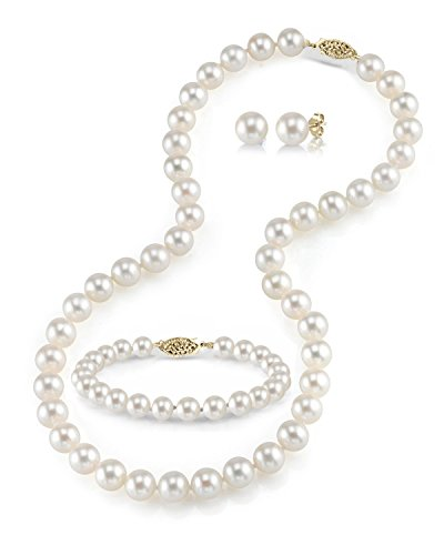 THE PEARL SOURCE 14K Gold 7-8mm Round White Freshwater Cultured Pearl