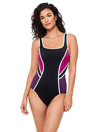 Reebok Women's Colorblock Scoop Neck One Piece Swimsuit