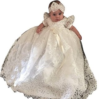 Newdeve Baby-girls Lace Beads Infant Toddler White