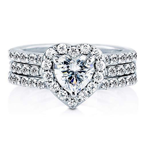 AndreAngel Wedding Rings Set Engagement 2 pcs Women White Gold