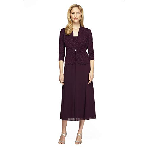 Alex Evenings Women's Tea Length Blazer Jacket Dress
