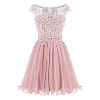 WHZZ Bonnie Beaded Short Homecoming Dresses Chiffon Prom Dresses