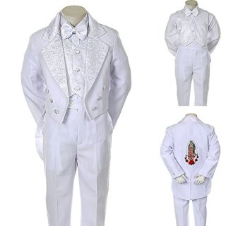 Unotux Boys Christening Baptism Suits Tuxedo White Tail Maria Virgin Mary