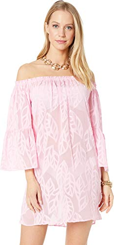 Lilly Pulitzer Women's Nevie Cover-Up Pink Tropics Tint Vertical Leaf