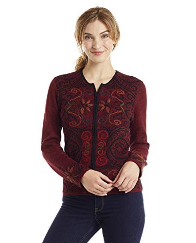 Invisible World Women's Alpaca Sweater Reversible Cardigan