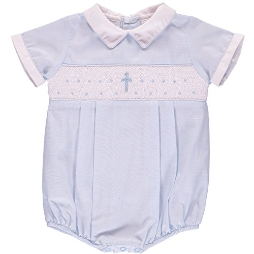 Baptism Outfit for Boy Hand Smocked Blue Cross Romper