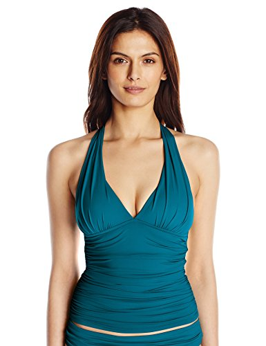 La Blanca Women's Island Goddess Rouched Front Halter Tankini Swimsuit Top