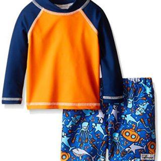 Flap Happy Boys' UPF 50+ Rash Guard and Infant Swim Diaper Trunk Set