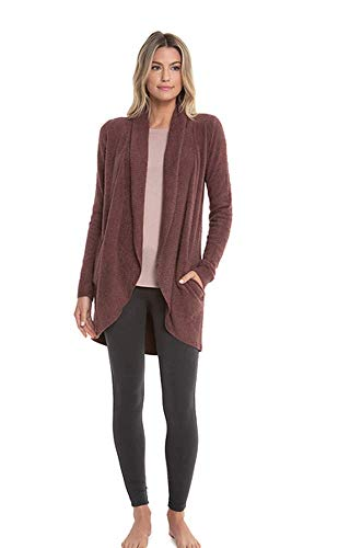 Barefoot Dreams CozyChic Lite Circle Cardi (Large, Rosewood)