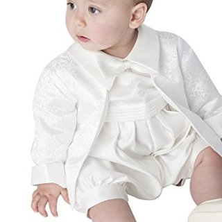 Newdeve 2 Pieces Baby-boys White/Ivory Christening Gowns Baptism Suits