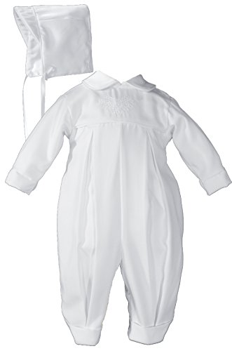 Pleated Boys Christening Baptism Coverall with Embroidered Shamrock Cluster
