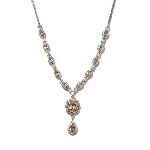 Necklace 925 Sterling Silver Platinum Plated Imperial Topaz Zircon Jewelry