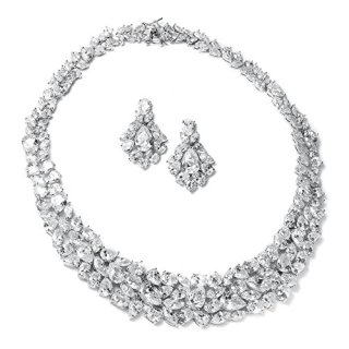 Mariell Ravishing Cubic Zirconia Statement Jewelry Necklace and Earrings Set