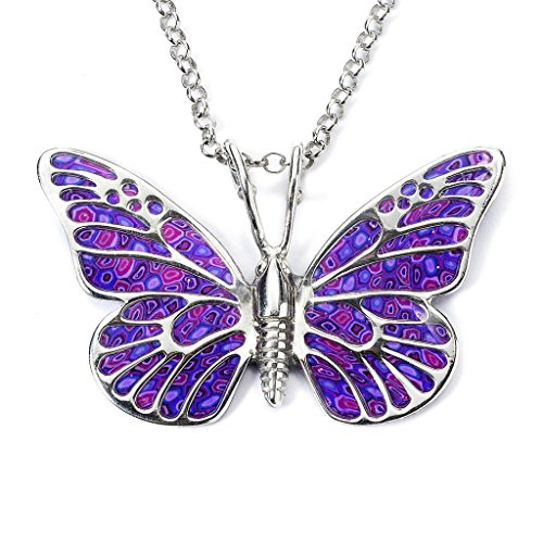 Sterling Silver Butterfly Necklace Pendant Purple Polymer Clay Handmade Jewelry