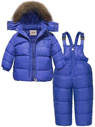 ZOEREA 2 pcs Unisex Kids Girls Snowsuit Hooded Puffer Jacket