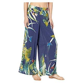 VINCE CAMUTO Women's Wrap Cover-Up Pants Deep Sea Large