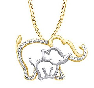 AFFY White Natural Diamond Mother & Baby Elephant Pendant Necklace