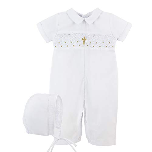 Baptism Outfit for Boy Hand Smocked Gold Cross Longall